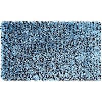 Blue/ Brown Cotton Jersey Shag Rug - 4'7 x 7'7