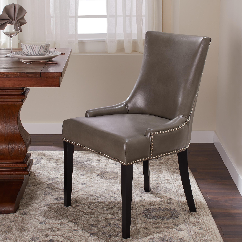 Stupendous Abbyson Newport Grey Leather Nailhead Trim Dining Chair Ibusinesslaw Wood Chair Design Ideas Ibusinesslaworg