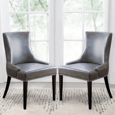 Abbyson Newport Grey Leather Nailhead Trim Dining Chair