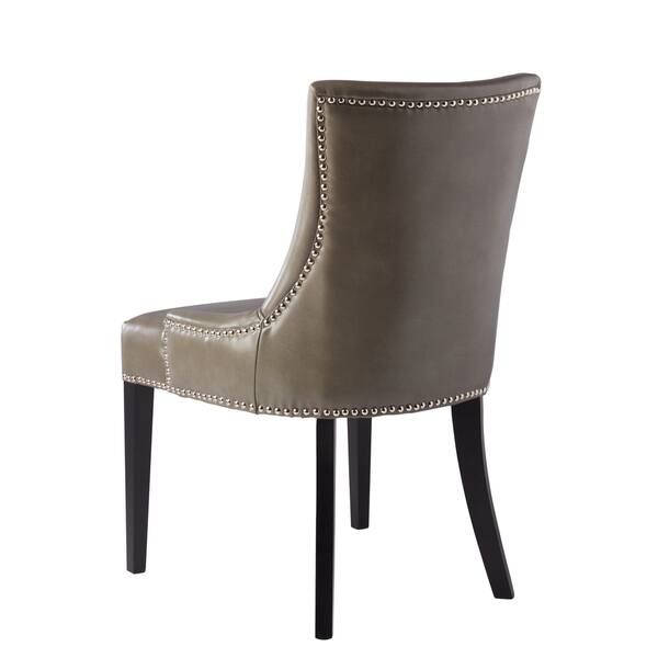 Peachy Shop Abbyson Newport Grey Leather Nailhead Trim Dining Chair Ibusinesslaw Wood Chair Design Ideas Ibusinesslaworg