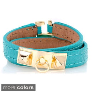 Turquoise Faux Leather Wrap Bracelet