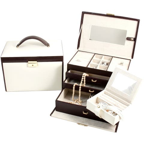 Bey Berk 'Sydney' Ivory and Brown 4-level Leather Jewelry Box
