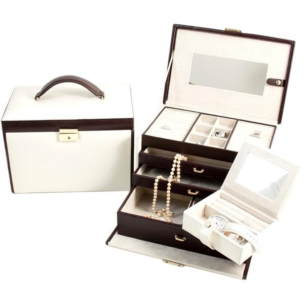 Bey berk 39 sydney 39 ivory brown 4 level jewelry box free for Bey berk jewelry box