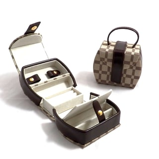 Bey Berk 'Melissa' Two-tone Brown Leather and Cloth Jewelry Case