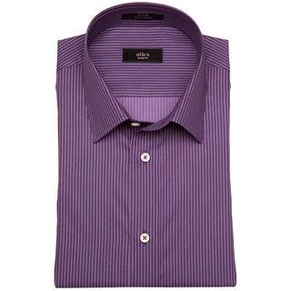 Alara Men's Plum Tonal Satin Striped Dress Shirt