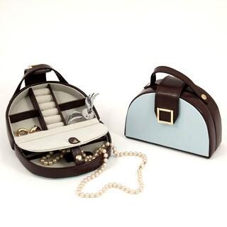Bey Berk 'Serina' Half Circle Blue/ Brown Croc-embossed Leather Jewelry Case