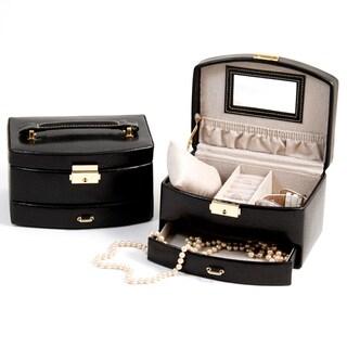 Bey Berk 'Ariana' Two-level Black Leather Jewelry Case
