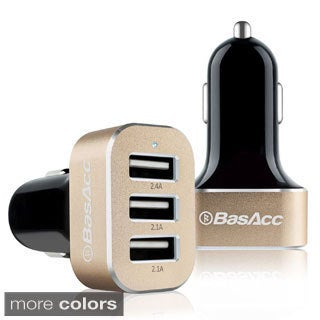 BasAcc 6.6A/ 33W Universal Aluminum 3-port USB Car Charger Adapter for Samsung Galaxy S6/ S7, Apple iPhone 6/ 6S/ 5C/ SE
