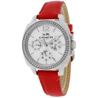 Coach Women's 14502171 Boyfriend Round Red Leather Strap Watch