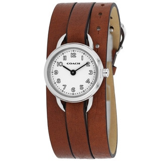 Coach Women's 14501981 Classic Round Brown Leather Strap Watch