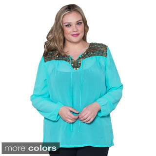 Sealed with a Kiss Women's Plus Size 'Cordelia' Chiffon Top
