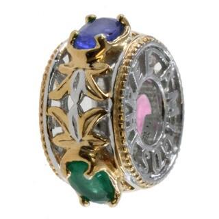 Michael Valitutti Three Amigos Ruby Saphire Emerald Bead Charm