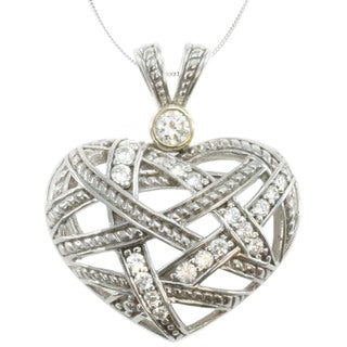 Michael Valitutti 14k Gold over Silver Cubic Zirconia Woven Heart Necklace
