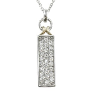 Michael Valitutti Two-tone Silver Cubic Zirconia Necklace
