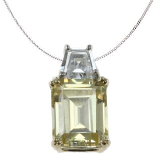 Michael Valitutti Sterling Silver Emerald-cut Yellow Cubic Zirconia Necklace
