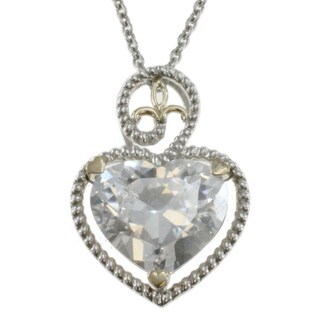 Michael Valitutti Two-tone Silver Cubic Zirconia Heart Necklace