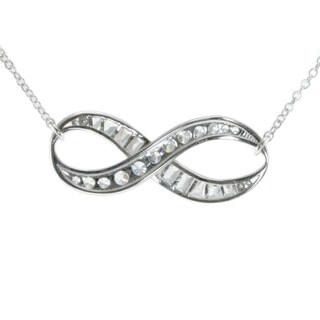 Michael Valitutti 10k White Gold Cubic Zirconia Infinity Necklace