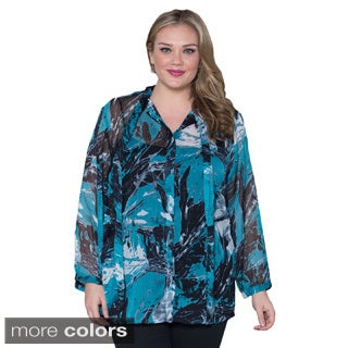 Sealed with a Kiss Women's Plus Size 'Melanie' Multicolor Chiffon Top