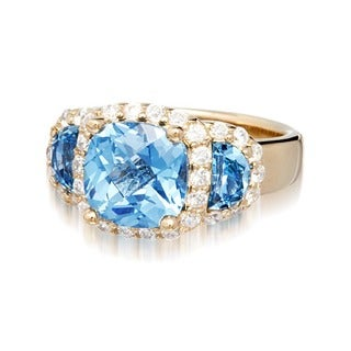 Suzy Levian Goldplated Sterling Silver Blue Cubic Zirconia Ring