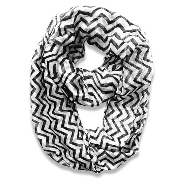 Black and White Chevron Infinity Loop Scarf