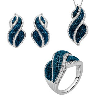 Divina 1/4ct TDW Blue and White Diamond 3-piece Fashion Set (I-J, I2-I3)