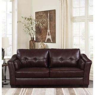 Abbyson Torrance Burgundy Top Grain Leather Sofa