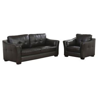 ABBYSON LIVING Torrance Top Grain Dark Brown Leather Sofa and Armchair
