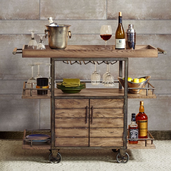 InkIvy Vintage Bar Cart Free Shipping Today Overstock