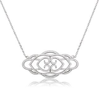 La Preciosa Sterling Silver Micropave Cubic Zirconia Designer Necklace
