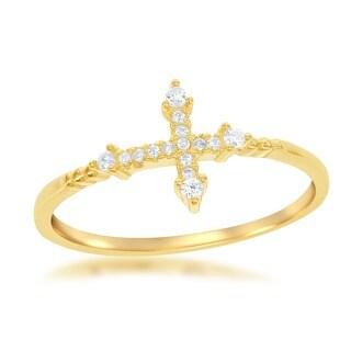 La Preciosa Goldplated Sterling Silver Cubic Zirconia Cross Ring