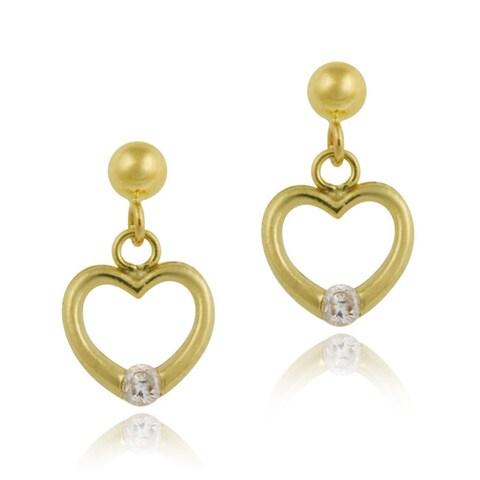 Mondevio 10k Yellow Gold Cubic Zirconia Heart Dangle Earrings