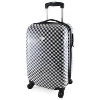 Jacki Design Retro Plaid 22-inch Hardside Carry-on Spinner Upright Suitcase
