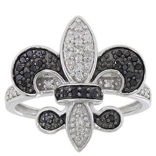10k White Gold Black And White Diamond Fleur De Lis Ring