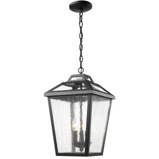 Z-Lite Bayland 3-Light Black Clear Seedy Shade Outdoor Chain Light