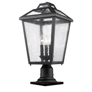 Z-Lite Bayland Black 3-Light Clear Seedy Shade Outdoor Pier Mount Light