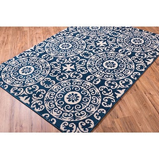 Well-woven Bright Trendy Twist Mediterranean Tile Scrolls Navy Blue and Ivory Frise Geometric Moroccan Area Rug (5'3 x 7'3)