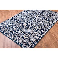 Well Woven Bright Trendy Twist Mediterranean Tile Scrolls Navy Blue Ivory Frise Geometric Moroccan Area Rug - 5'3 x 7'3