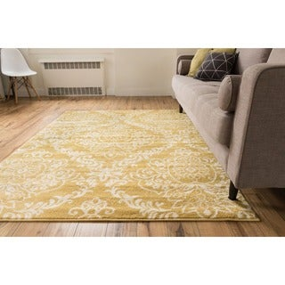 Well Woven Bright Trendy Twist Damask Linen Gold Air Twisted Polypropylene Rug (5'3 x 7'3)