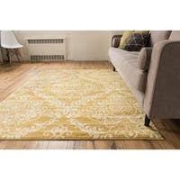 Well Woven Bright Trendy Twist Damask Linen Gold Air Twisted Polypropylene Rug - 7'10 x 10'6