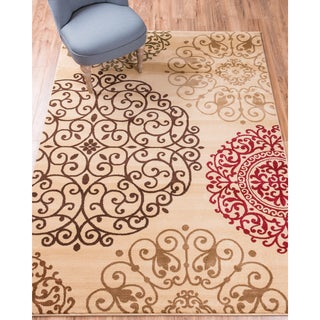 Well Woven Sublime Lines Moody Modern Suzzani Ivory/Multi Polypropylene Rug (5'3 x 7'3)