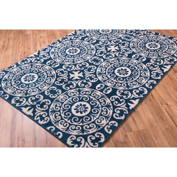 Well Woven Bright Trendy Twist Mediterranean Tile Scrolls Navy Blue Geometric Area Rug - 7'10 x 10'6