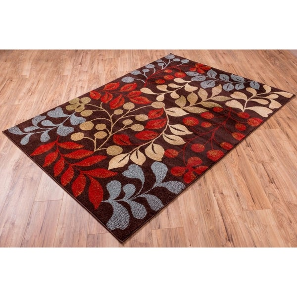Well Woven Bright Trendy Twist Mysterious Vines Leaves Brown Area Rug - 7'10 x 10'6
