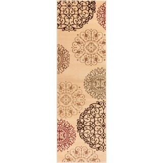 Well Woven Sublime Lines Moody Modern Suzzani Modern Ivory/Multi Polypropylene Runner Rug (2'3 x 7'3)
