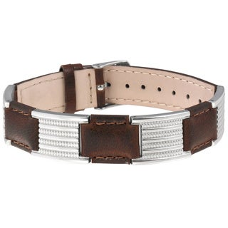 Sabona Brown Leather Dress Stainless Magnetic Bracelet