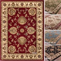 Well Woven Vanguard Oriental Border Classic Traditional Floral Persian Thick Red, Black, Light Blue Area Rug - 5'3 x 7'3