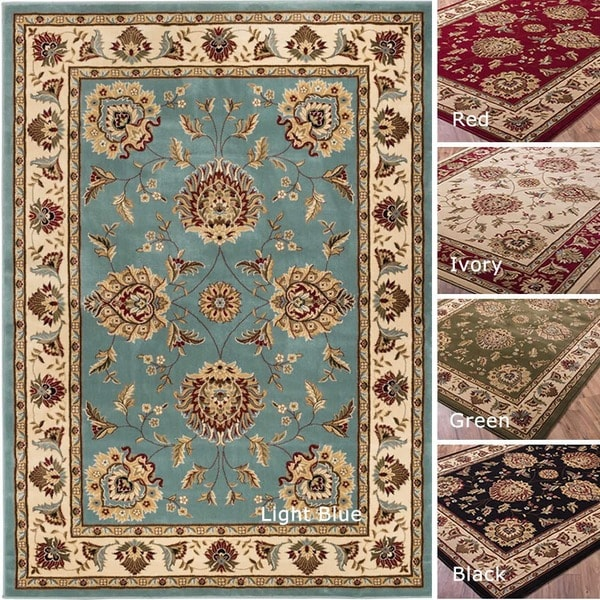 Well Woven Vanguard Oriental Border Light Blue Red Black Ivory Green Traditional Area Rug - 7'10 x 10'6