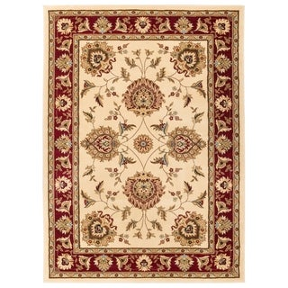Well Woven Vanguard Oriental Border Light Blue Red Black Ivory Green Traditional Polypropylene Rug (7'10 x 10'6 )