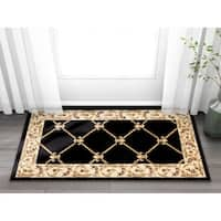 Well Woven Vanguard Fleur-de-lis Trellis Lattice French European Classic Traditional Entryway Mat Accent Rug - 2'3 x 3'11