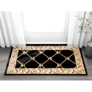 Well woven Vanguard Fleur de lis Trellis Lattice French European Classic  Traditional Entryway. Border Accent Rugs For Less   Overstock com