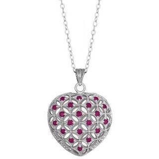La Preciosa Sterling Silver Gemstone Puffed Heart Necklace